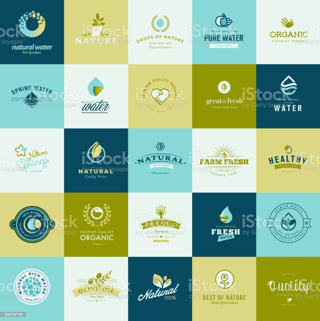 Set of flat design icons for nature, food and drink vector art illustration