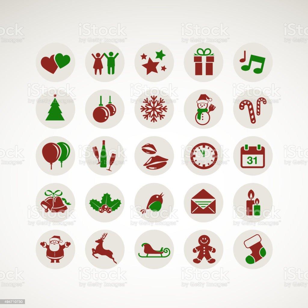 Conjunto de iconos de diseño plano para el año nuevo y Navidad illustracion libre de derechos libre de derechos