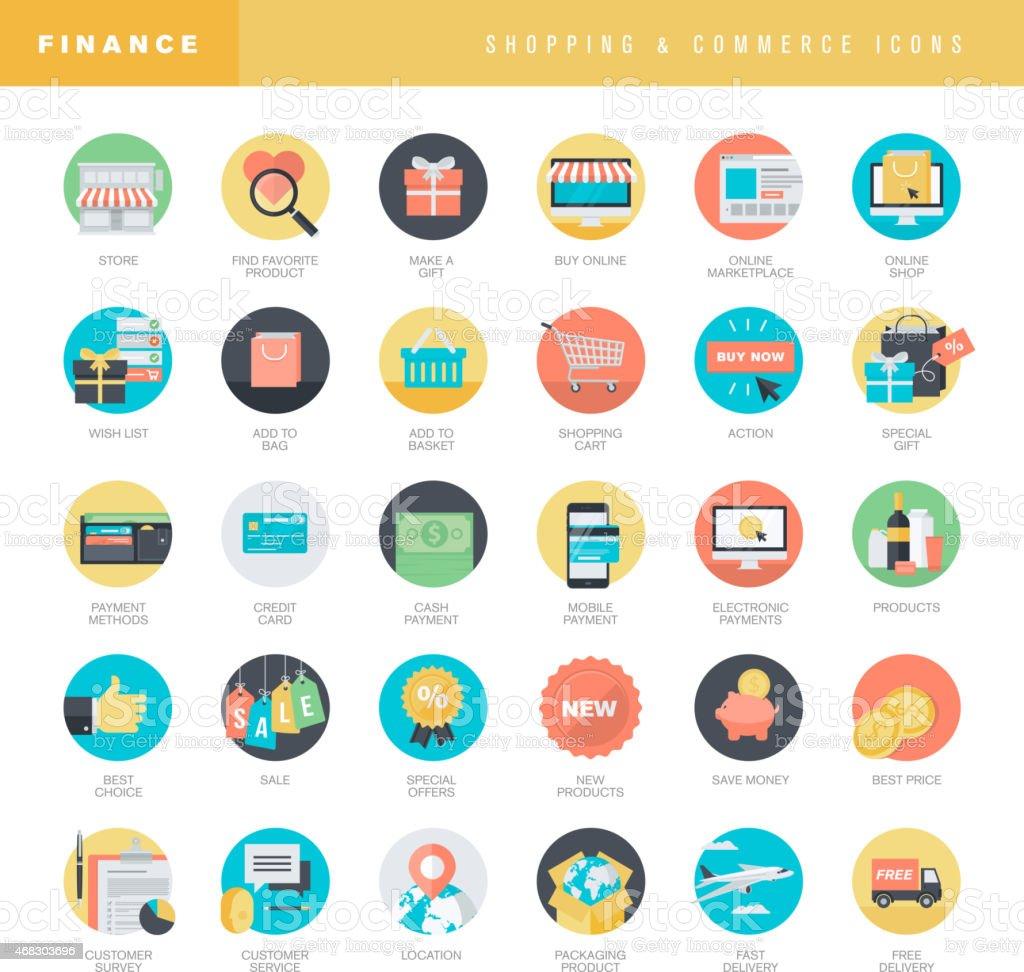 Conjunto de iconos de diseño plano para compras en línea y el comercio electrónico illustracion libre de derechos libre de derechos