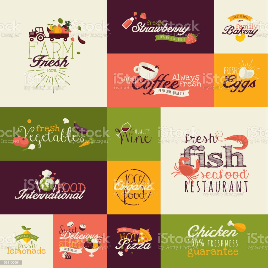 Set of flat design icons for organic food and drink vector art illustration