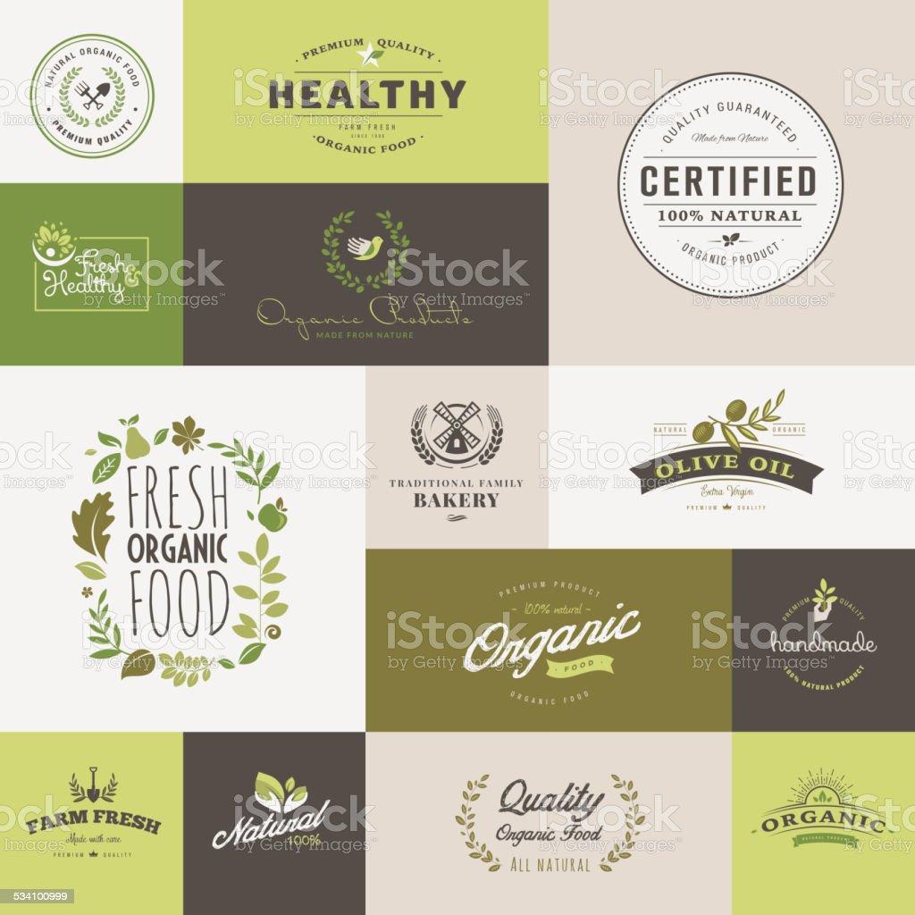 Conjunto de diseño plano iconos para alimentos orgánicos y bebida illustracion libre de derechos libre de derechos