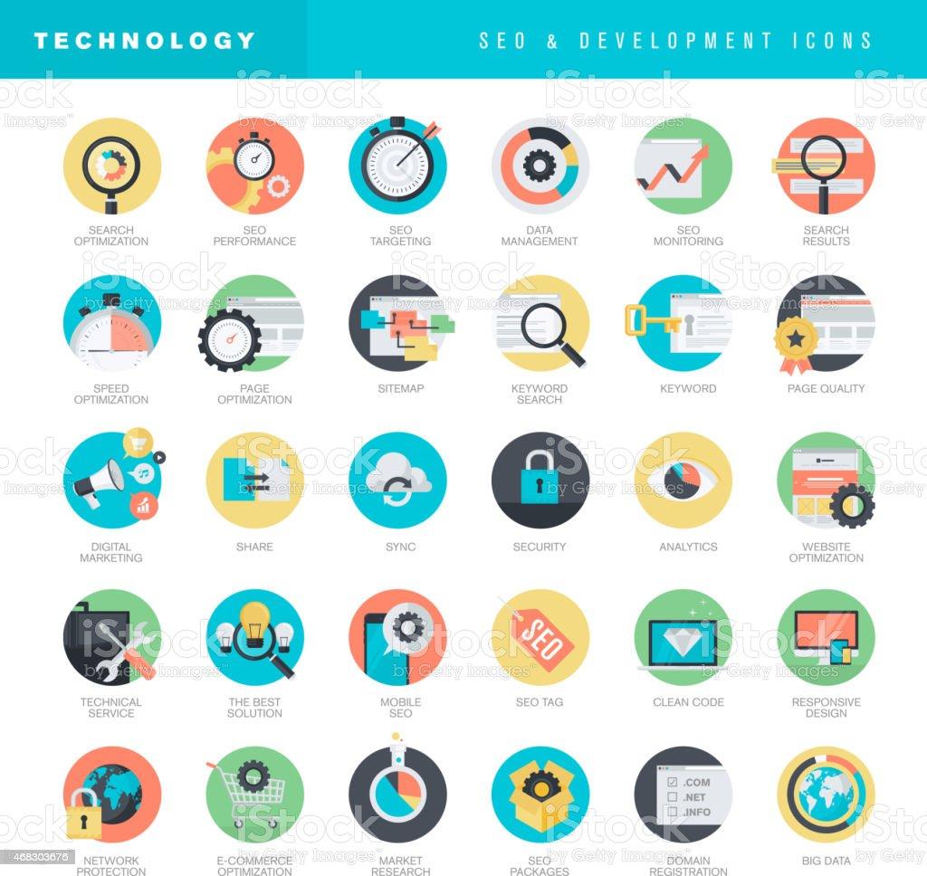 Conjunto de iconos de diseño plano para desarrollo web y SEO illustracion libre de derechos libre de derechos