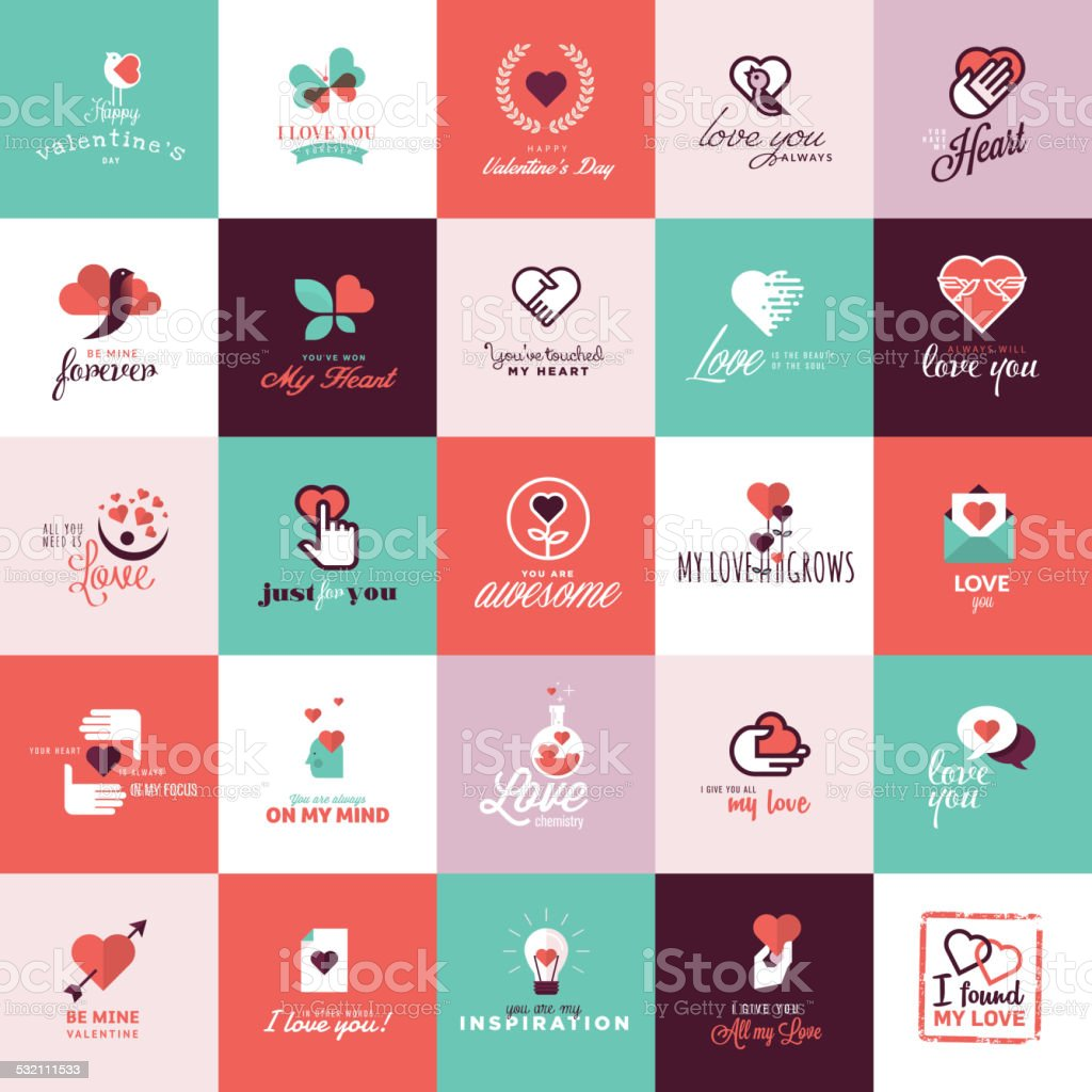 Conjunto de iconos de diseño plano para el día de San Valentín illustracion libre de derechos libre de derechos