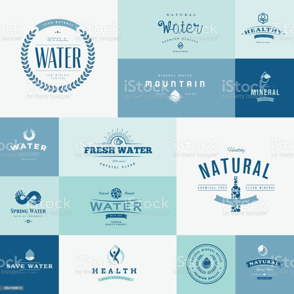 Conjunto de iconos de diseño plano para el agua illustracion libre de derechos libre de derechos