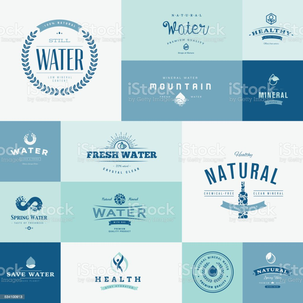 Set of flat design icons for water vector art illustration