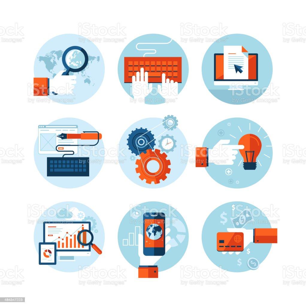Conjunto de iconos de diseño plano para desarrollo web diseño illustracion libre de derechos libre de derechos