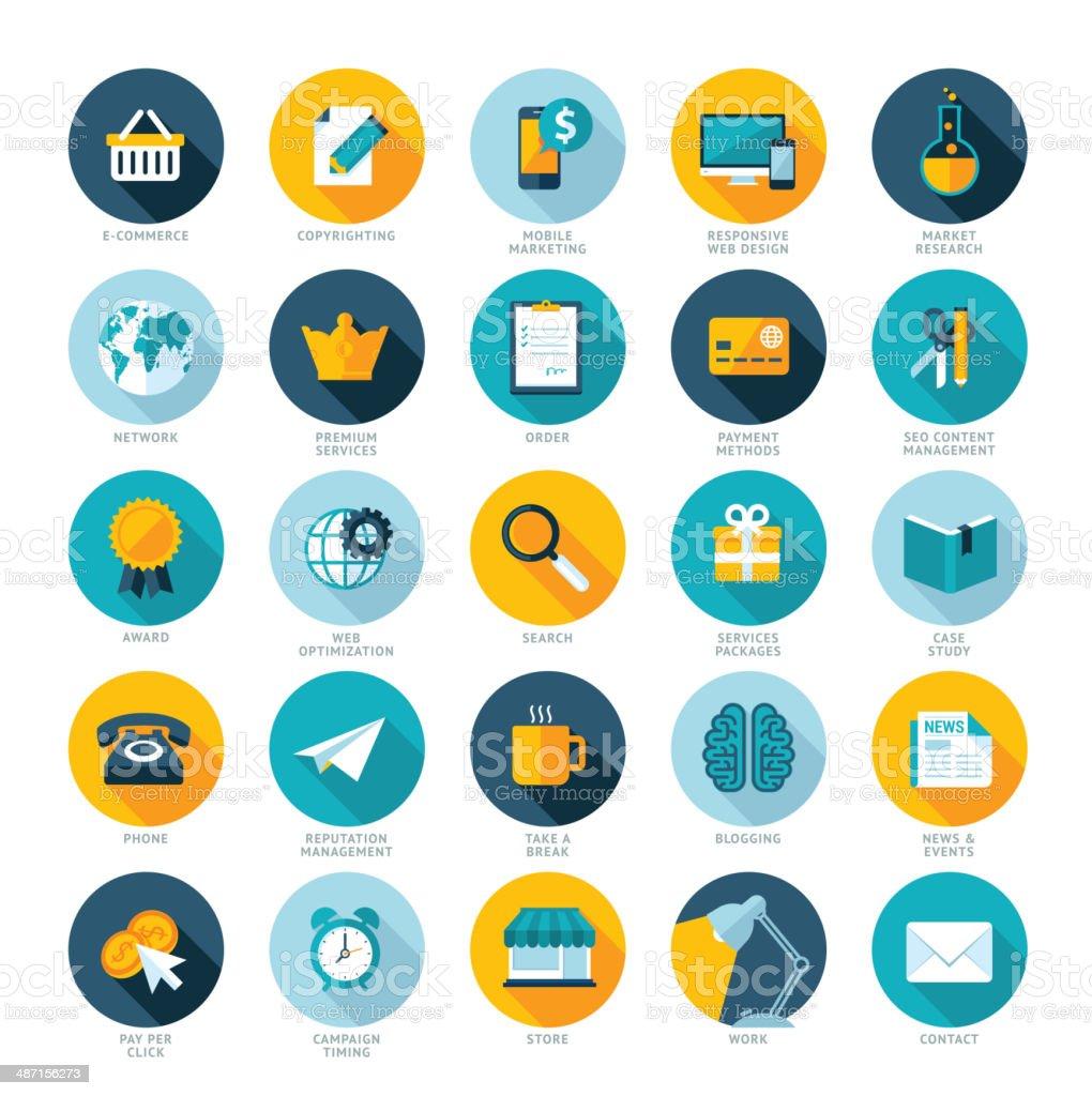 Conjunto de iconos de diseño plano para el marketing en web illustracion libre de derechos libre de derechos