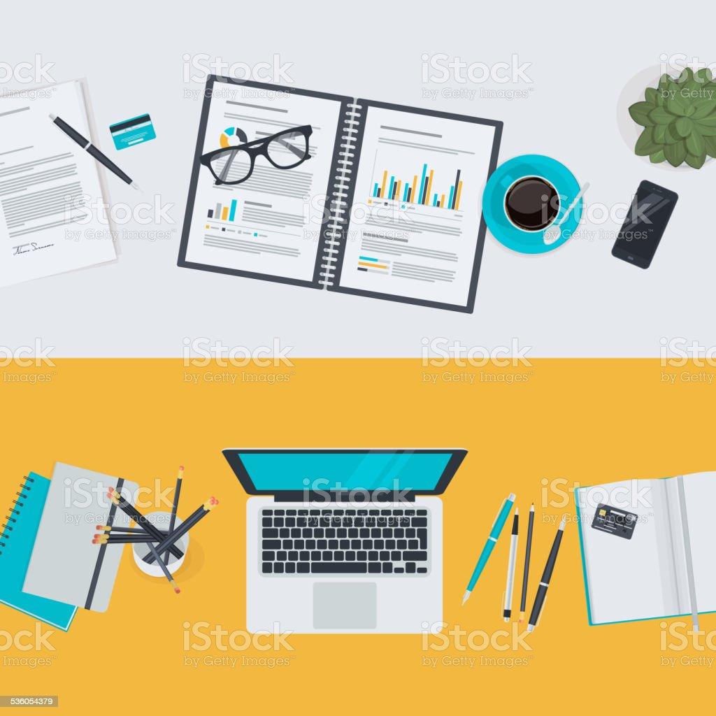 Set of flat design illustration concepts de negocios y finanzas illustracion libre de derechos libre de derechos