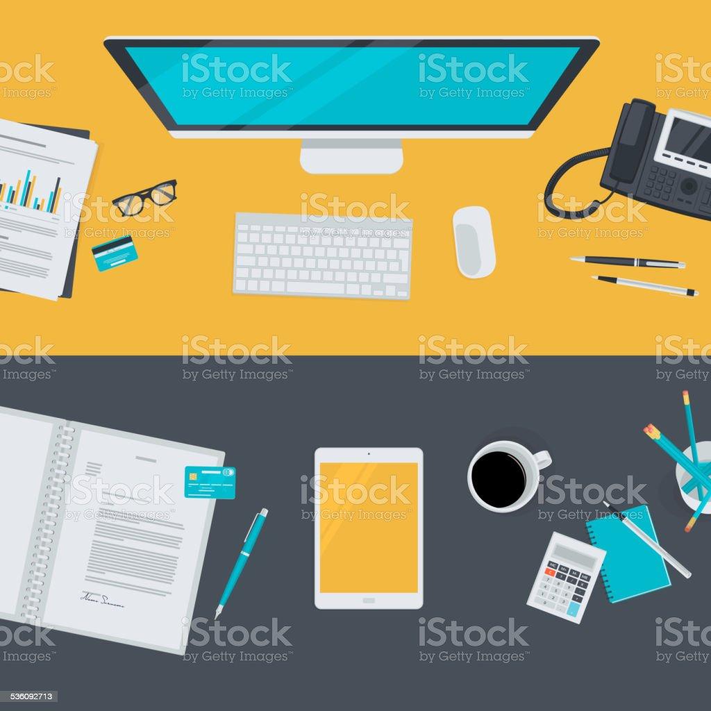 Set of flat design illustration concepts for business, finance vector art illustration