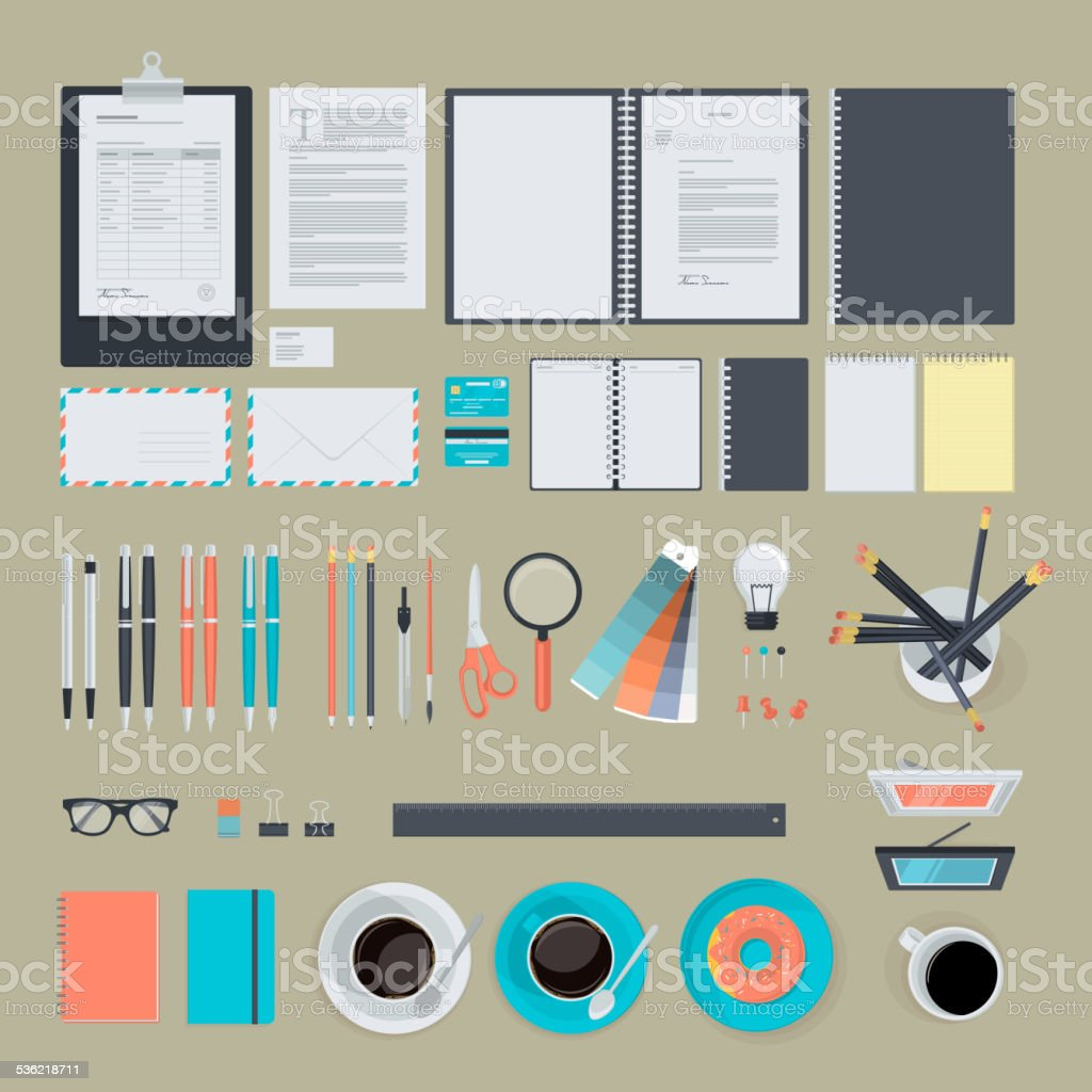 Set of flat design items for business vector art illustration