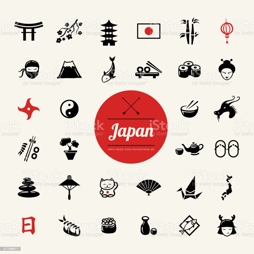 Set of flat design Japanese icons vector art illustration