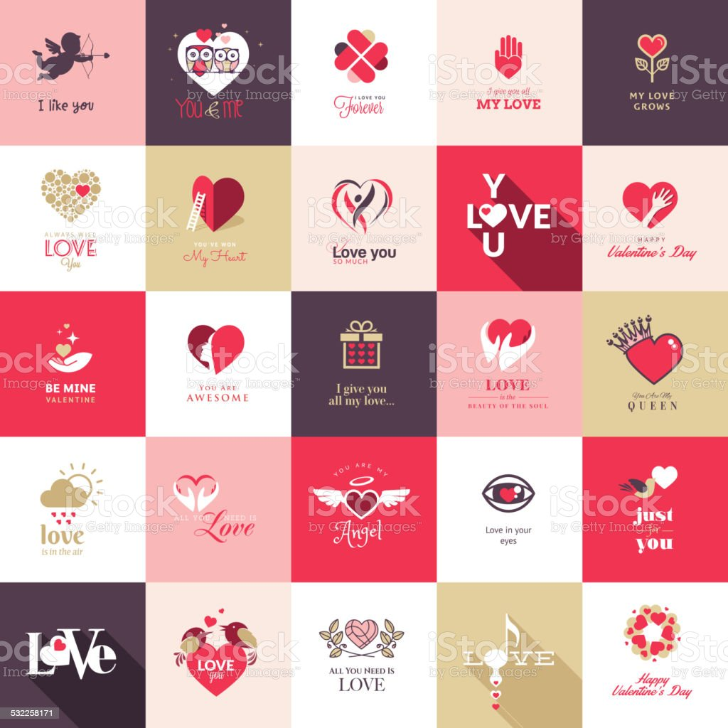 Set of flat design love icons vector art illustration