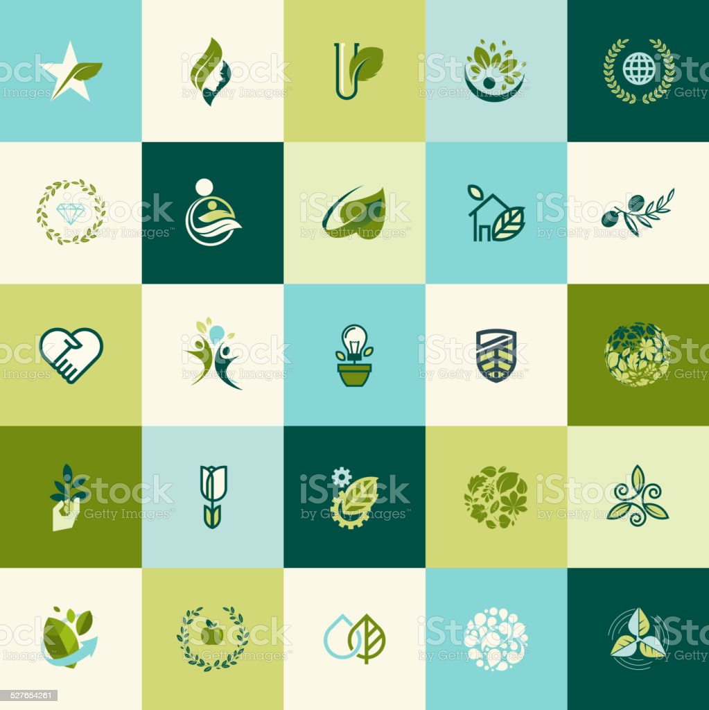 Set of flat design nature icons vector art illustration