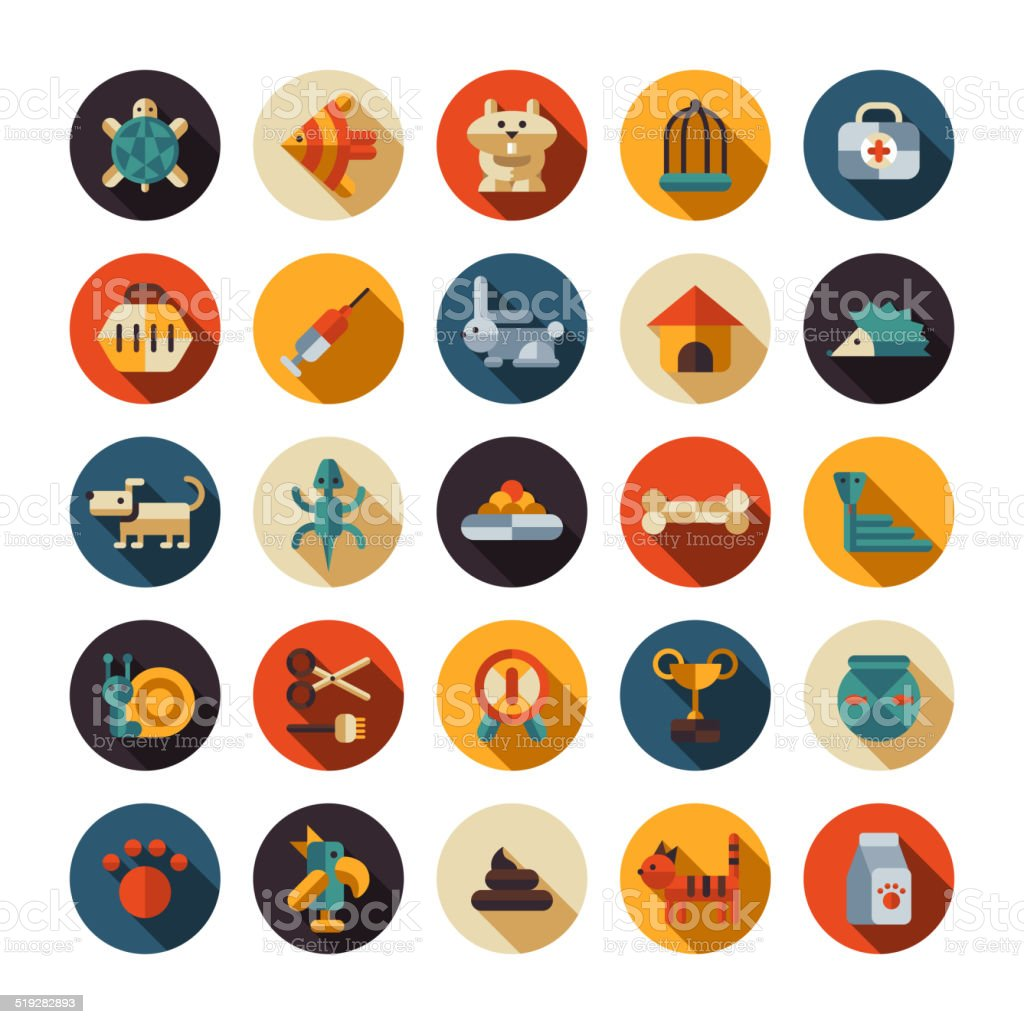 Set of flat design pet shop icons vector art illustration