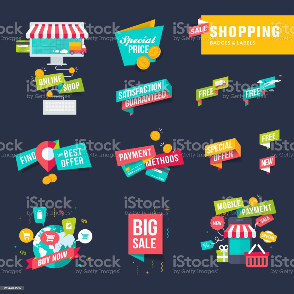 Conjunto de iconos de compras tarjetas y etiquetas illustracion libre de derechos libre de derechos
