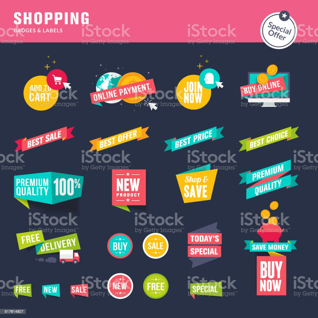 Set of flat design stickers and ribbons for shopping vector art illustration