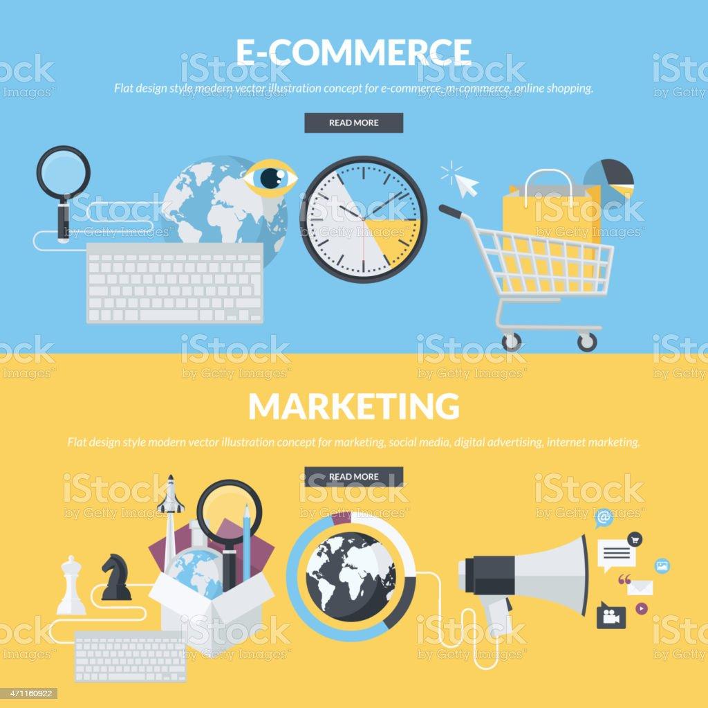 Conjunto de conceptos de estilo de diseño plano para e-commerce, marketing illustracion libre de derechos libre de derechos