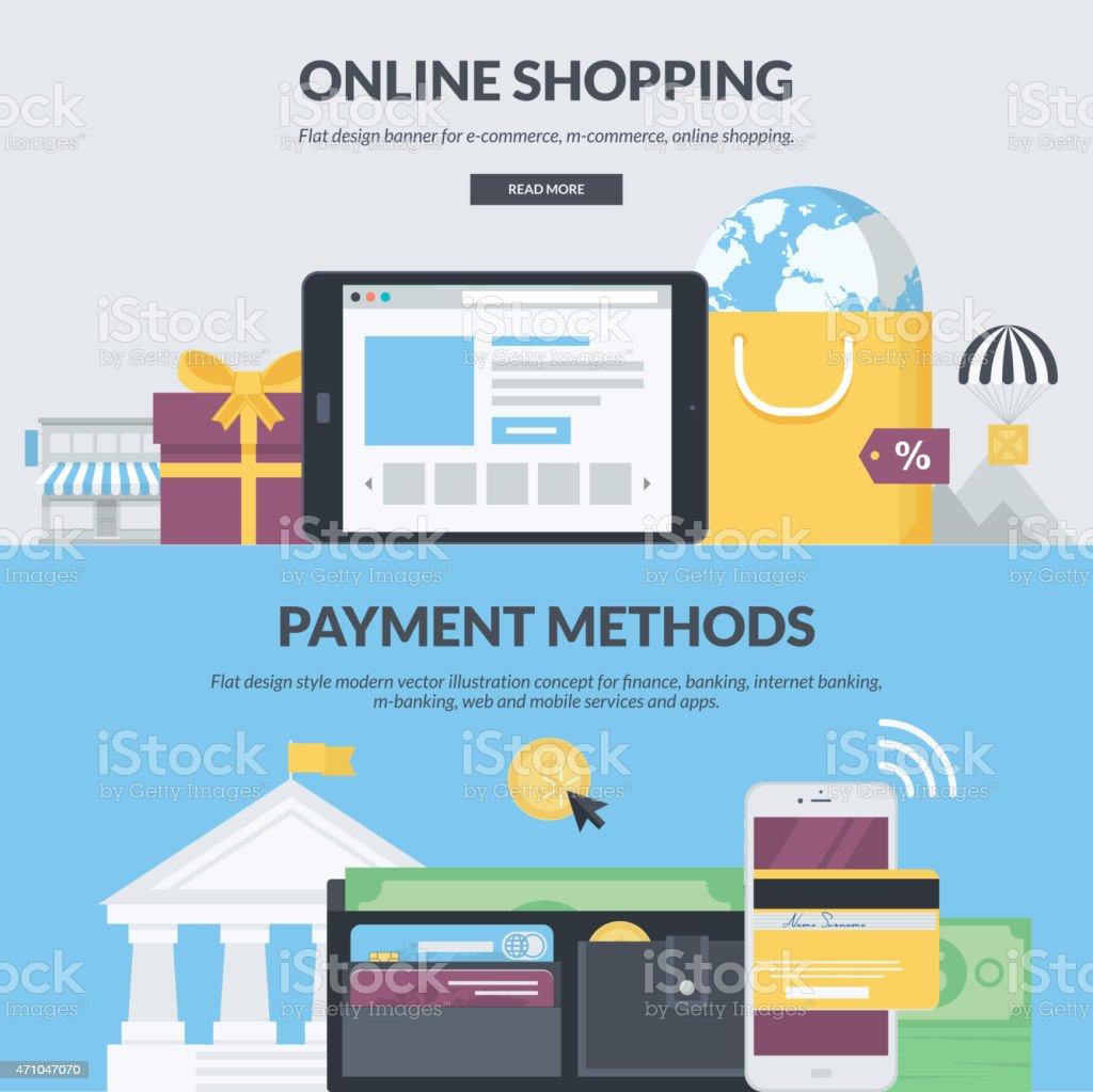 Conjunto de conceptos de diseño plano para el comercio electrónico illustracion libre de derechos libre de derechos