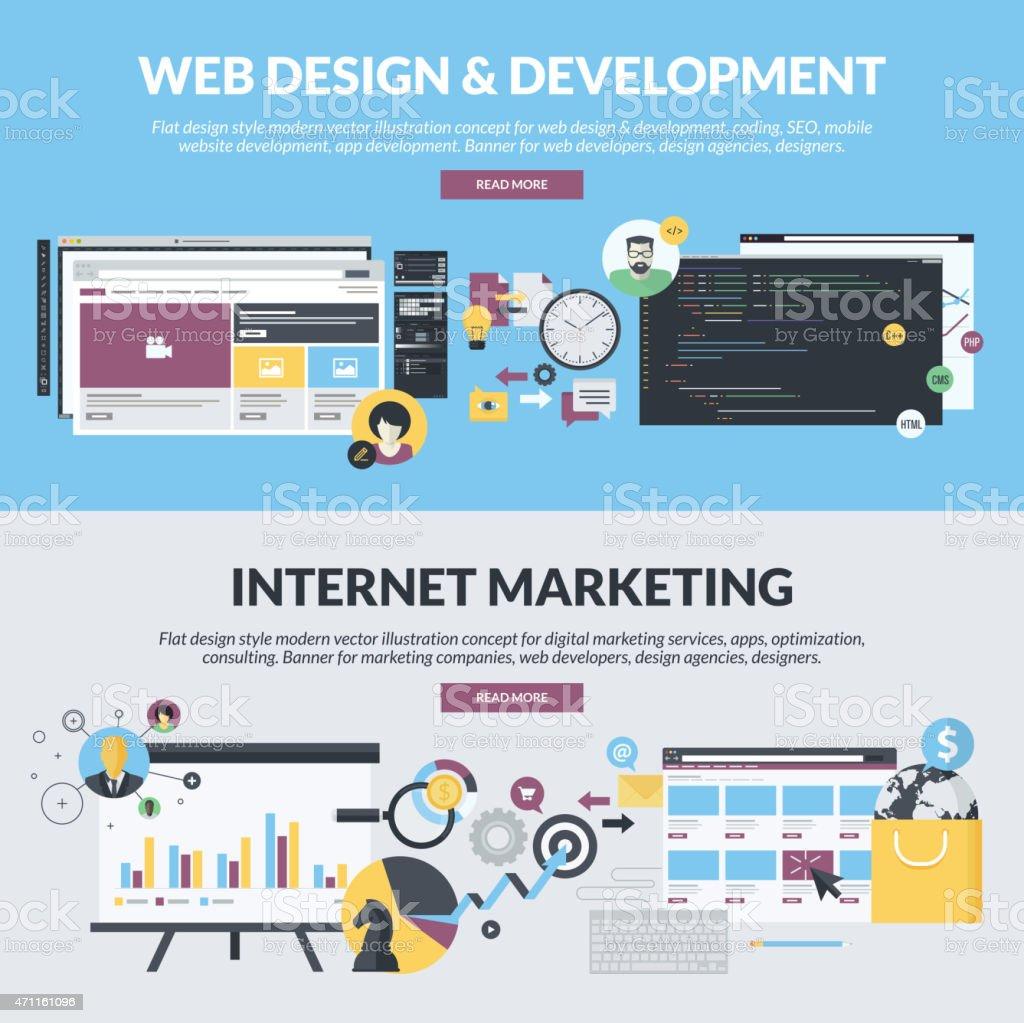 Conjunto de conceptos de estilo de diseño plano para desarrollo web, marketing illustracion libre de derechos libre de derechos