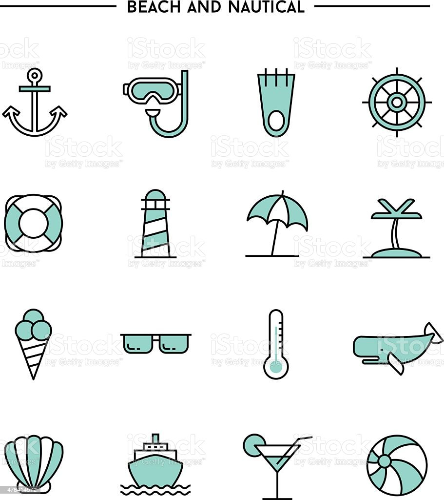 set of flat design, thin line beach and nautical icons vector art illustration