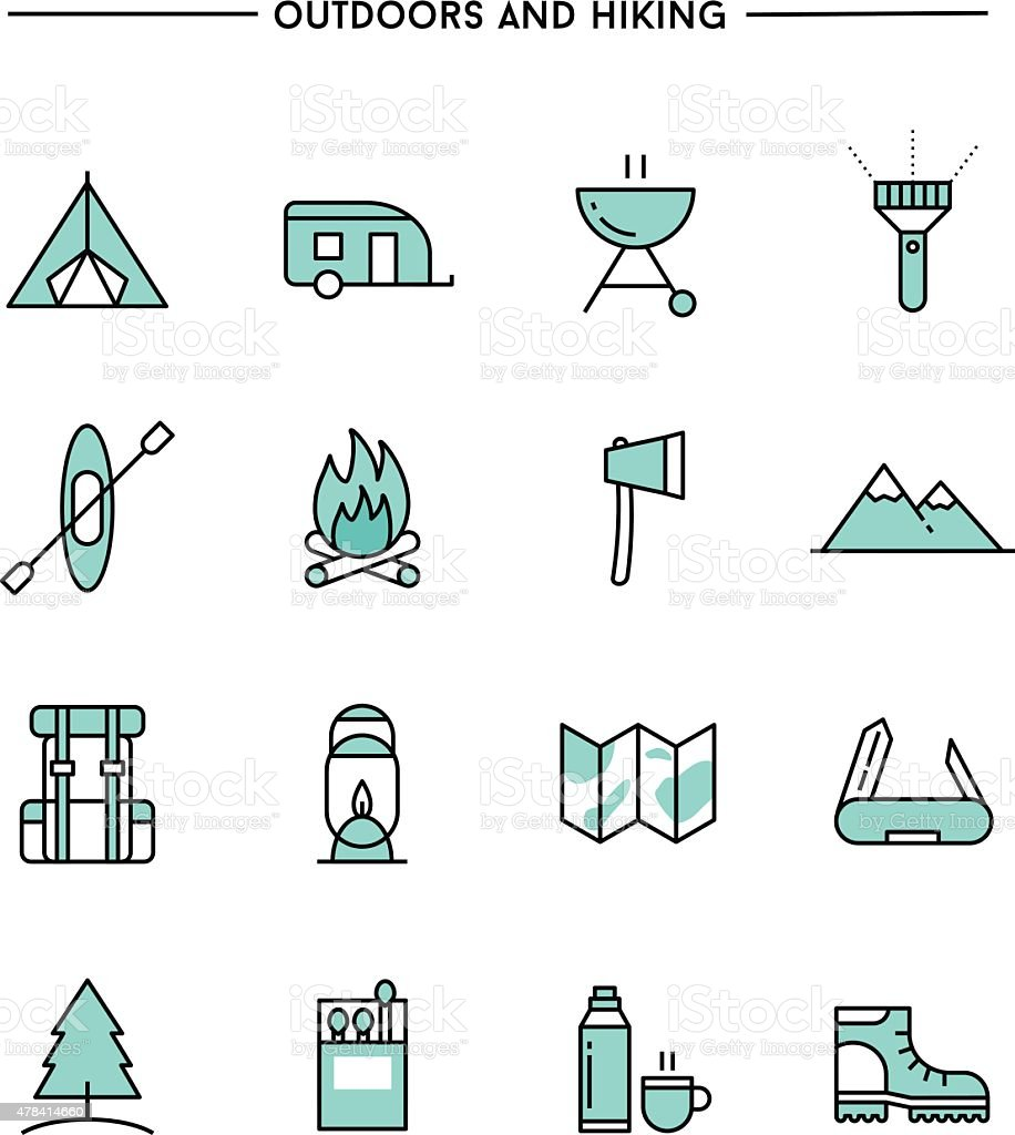 set of flat design, thin line hiking and outdoors icons vector art illustration