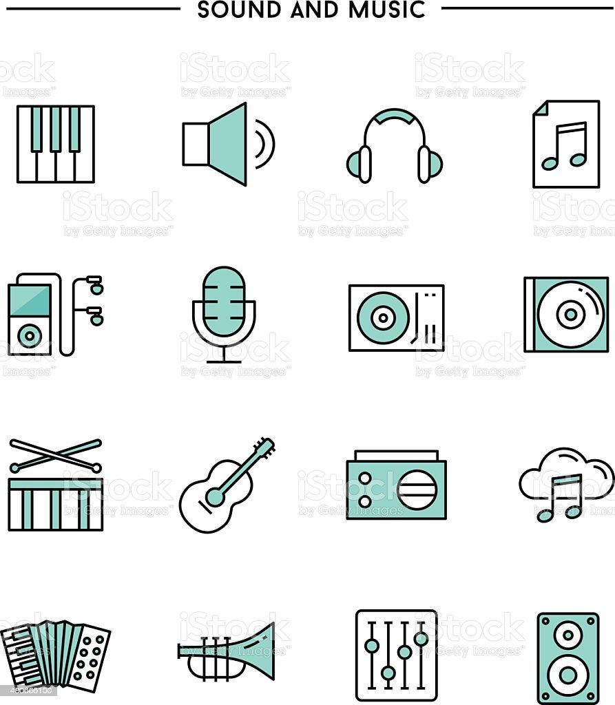 set of flat design, thin line sound and music icons vector art illustration