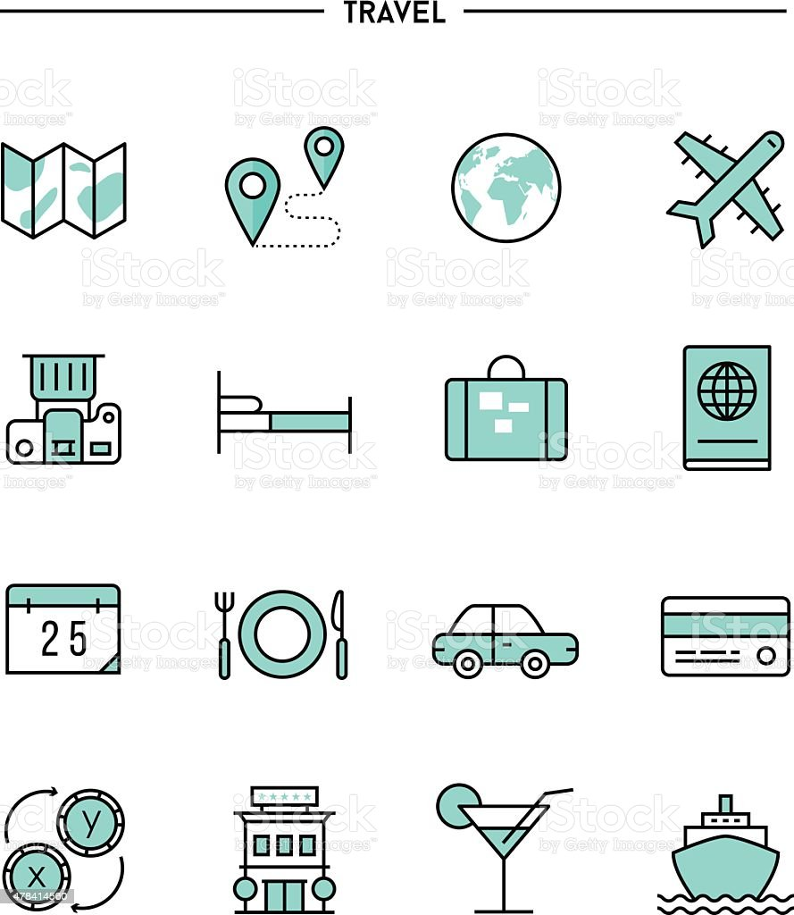 set of flat design, thin line travel icons vector art illustration