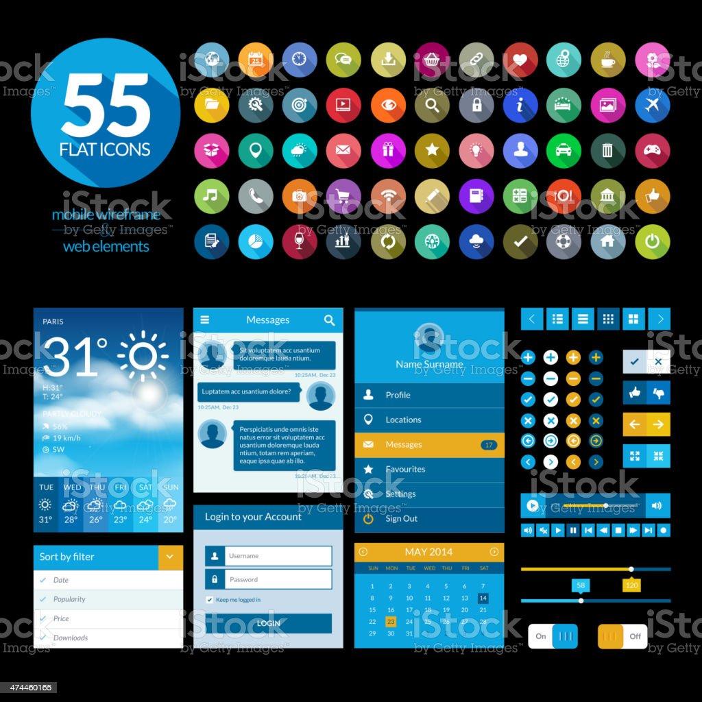 Conjunto de elementos de interfaz de usuario plana diseño de plantilla e iconos illustracion libre de derechos libre de derechos