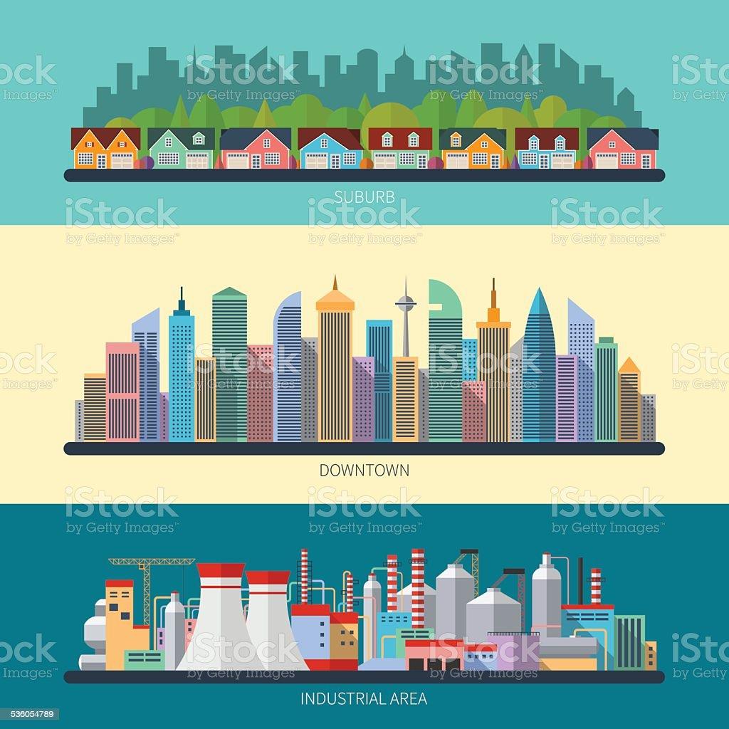 Set of flat design urban landscape illustrations vector art illustration