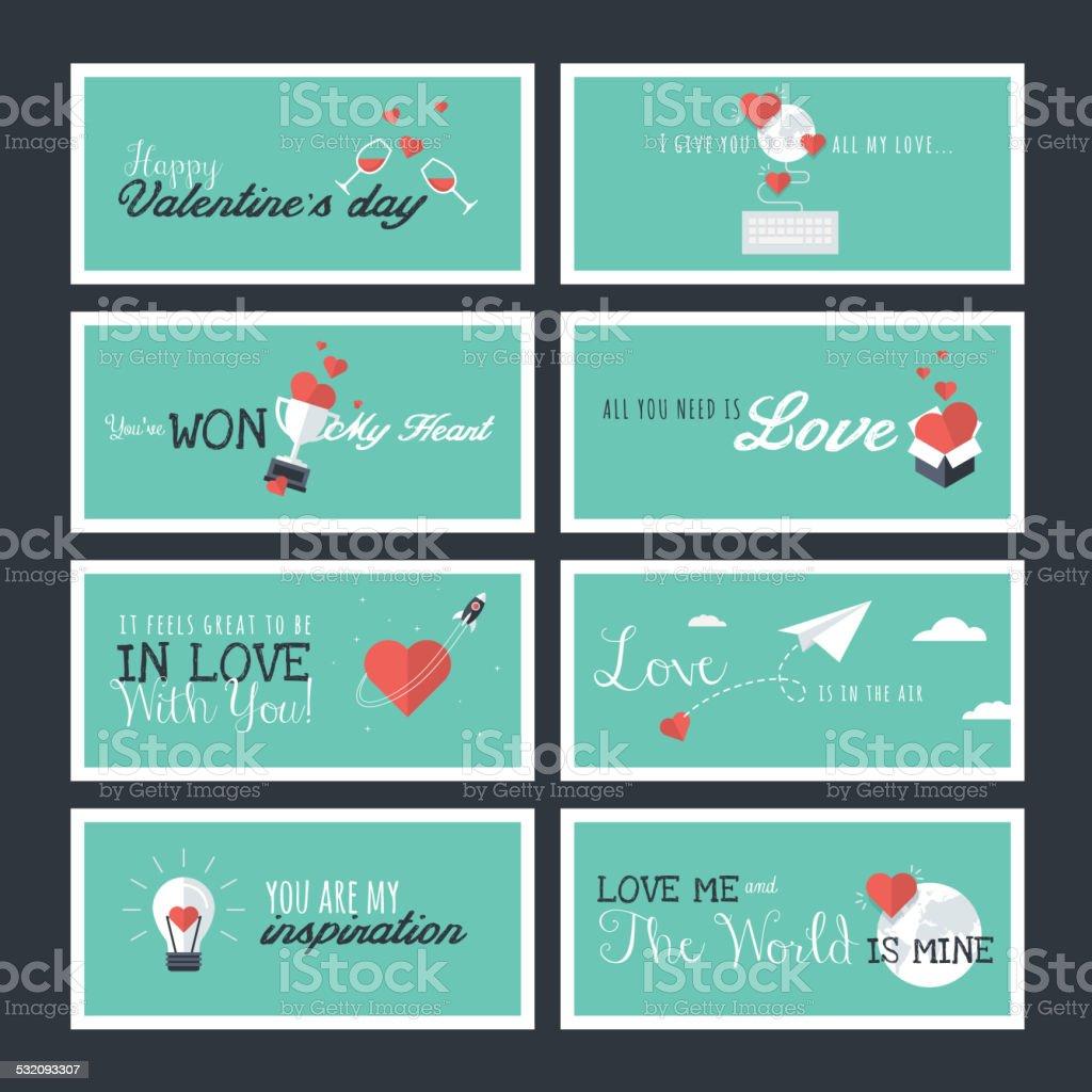 Conjunto de iconos de San Valentín tarjetas de felicitación y carteles illustracion libre de derechos libre de derechos