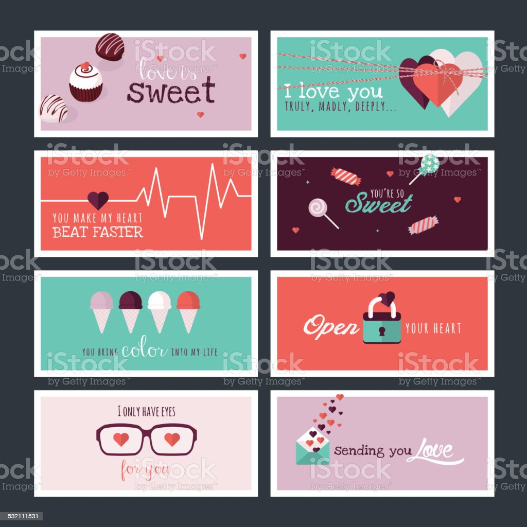 Set of flat design Valentines day greeting cards and banners vector art illustration