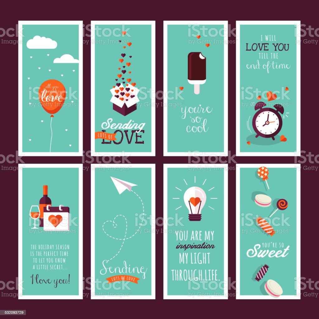 Set of flat design Valentines day greeting cards vector art illustration