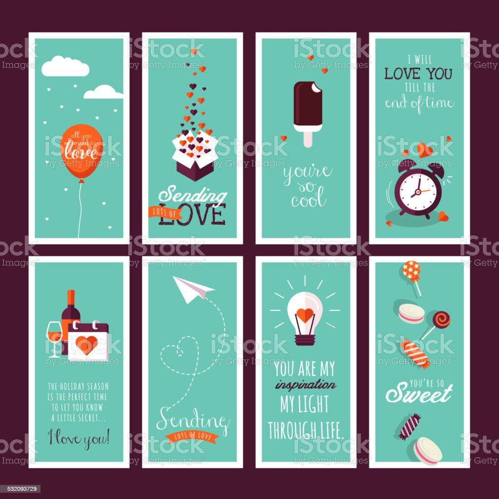 Set of flat design Valentines day greeting cards vector art illustration