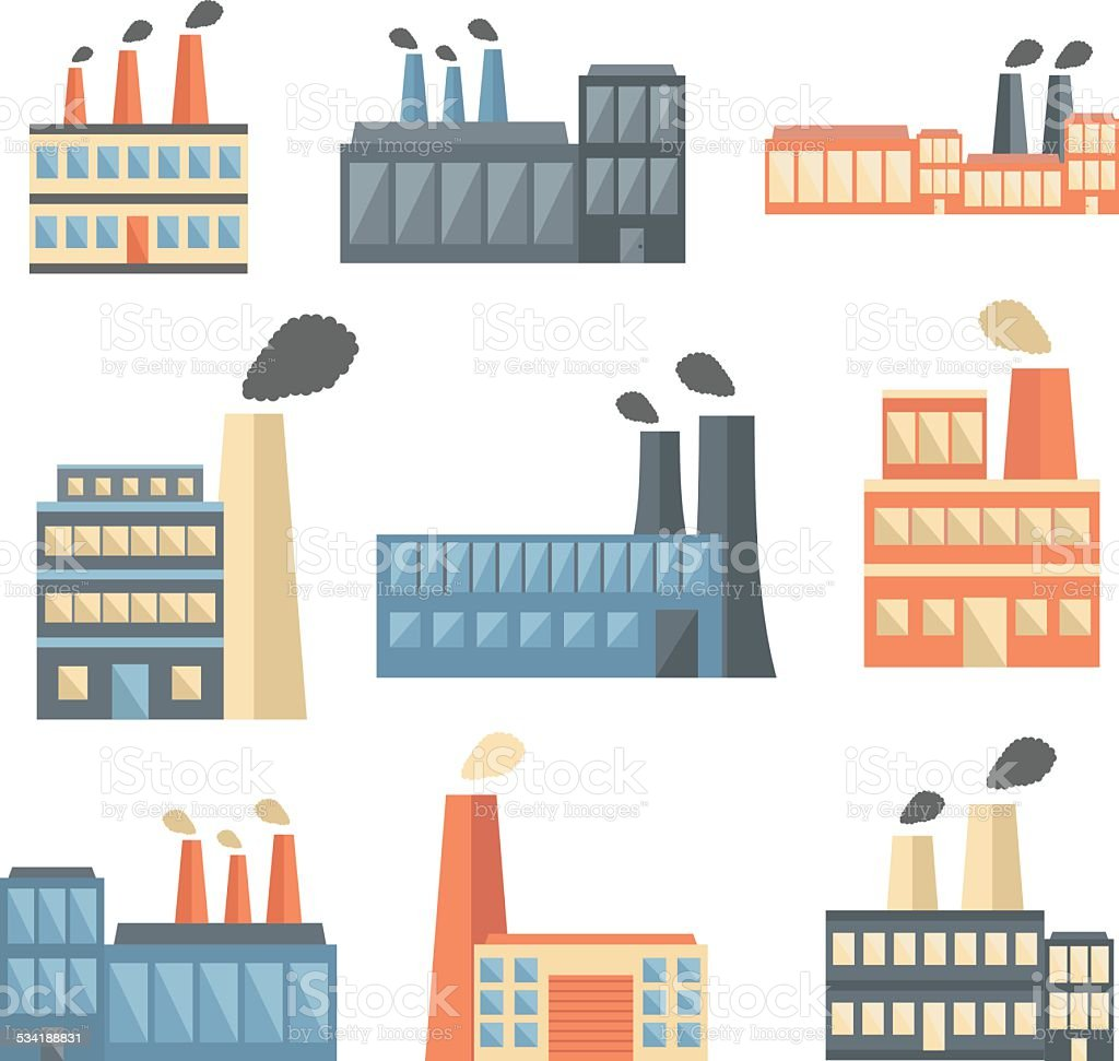 Set of flat factory icons vector art illustration