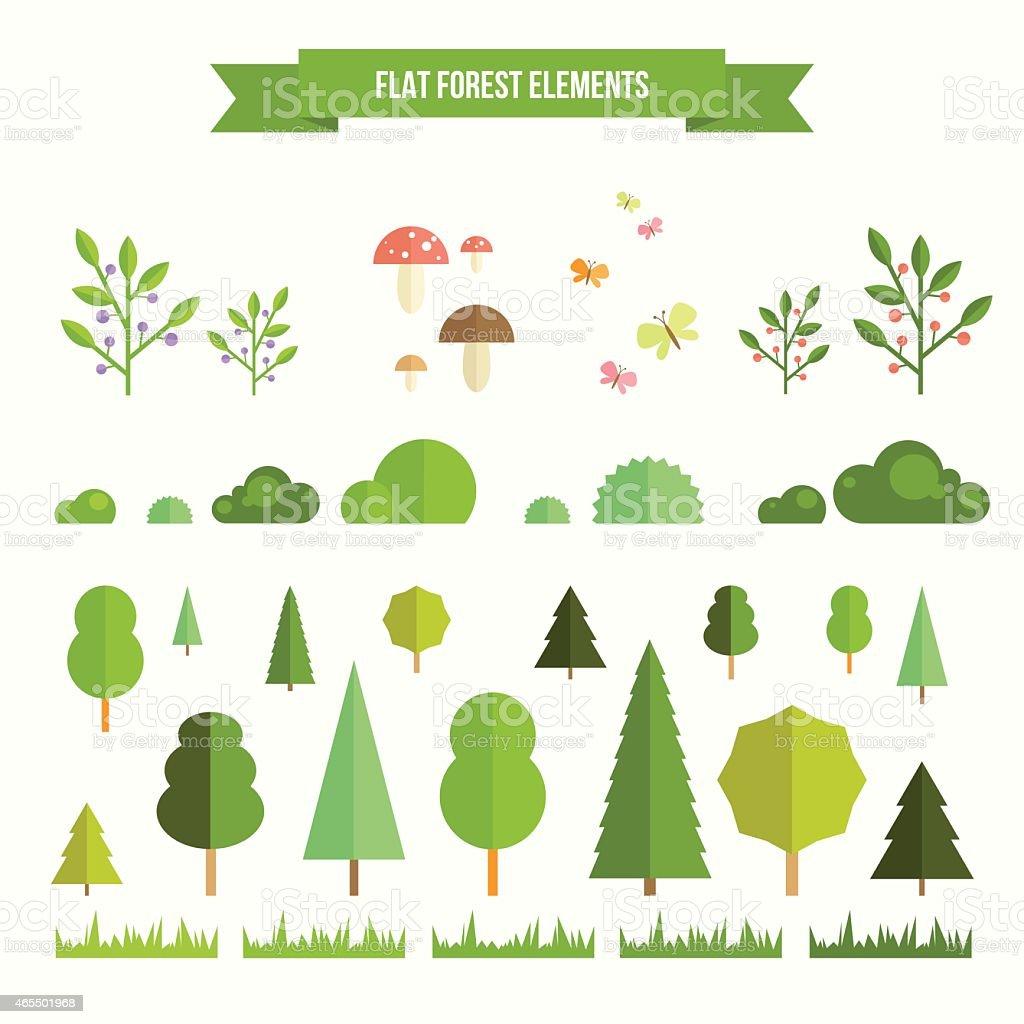 Set of flat forest elements vector art illustration