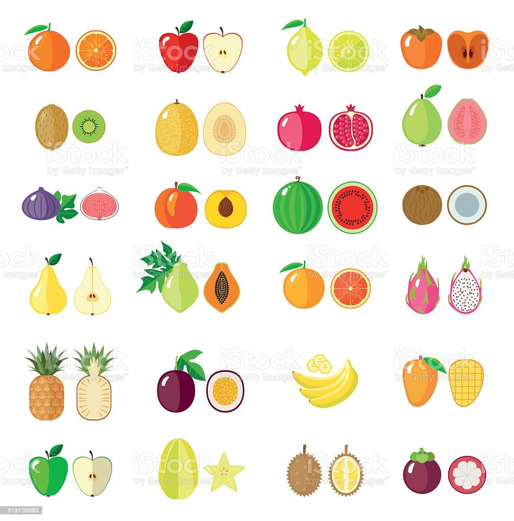 Set of flat fruits. vector art illustration