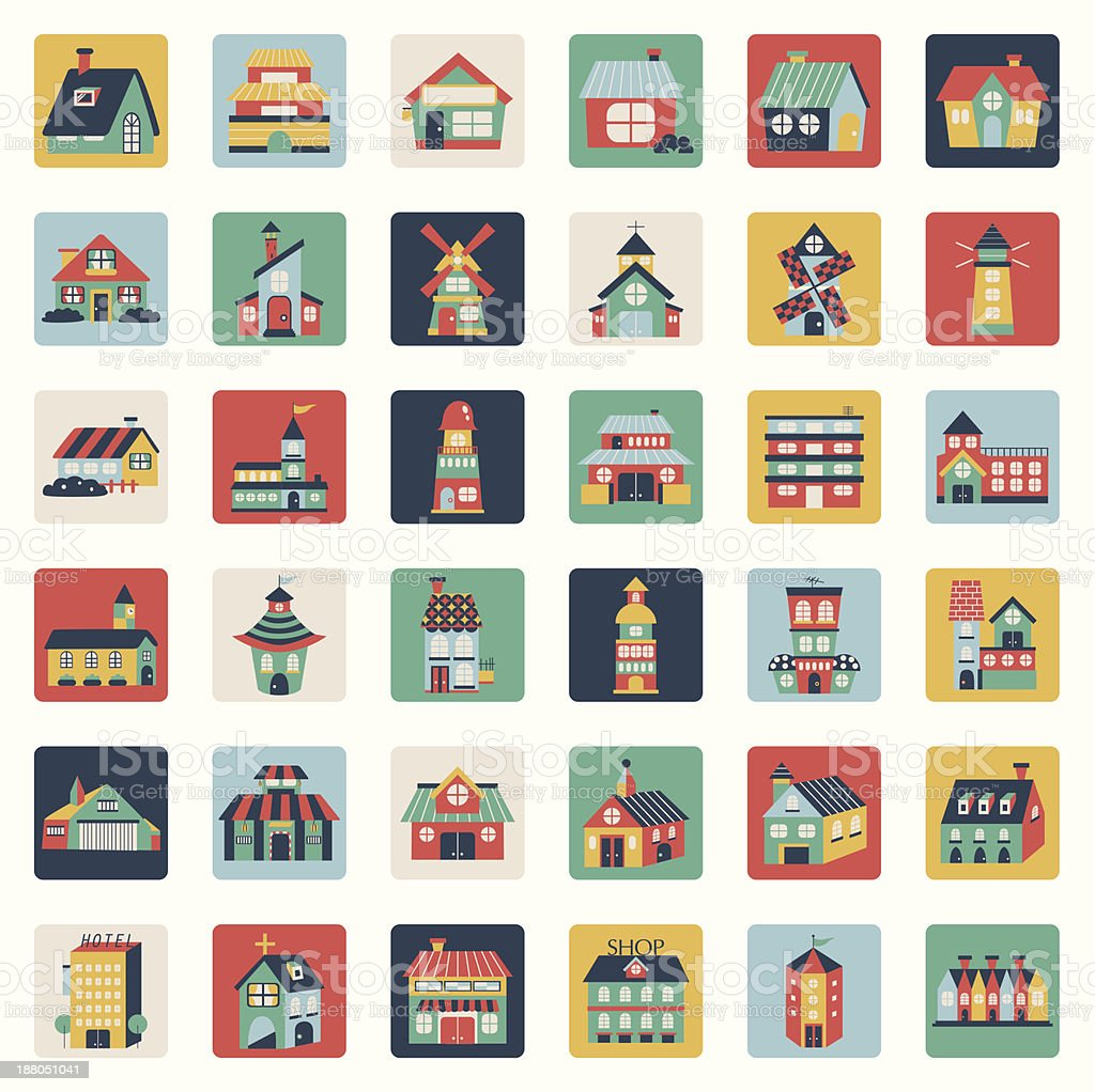 Set of flat house icons vector art illustration