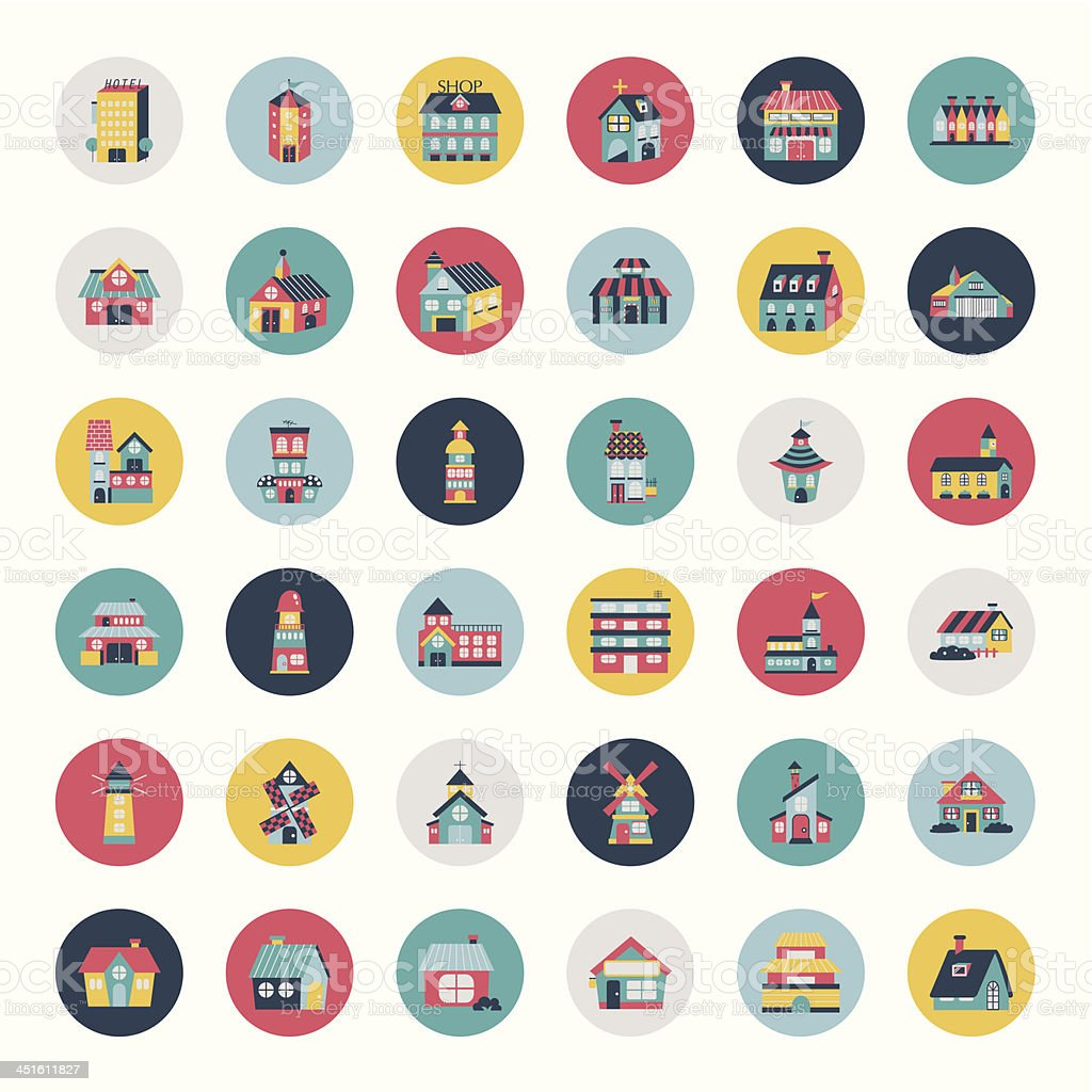 Set of flat house icons royalty-free stock vector art