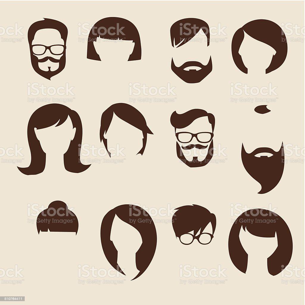 Set of flat human icons vector art illustration