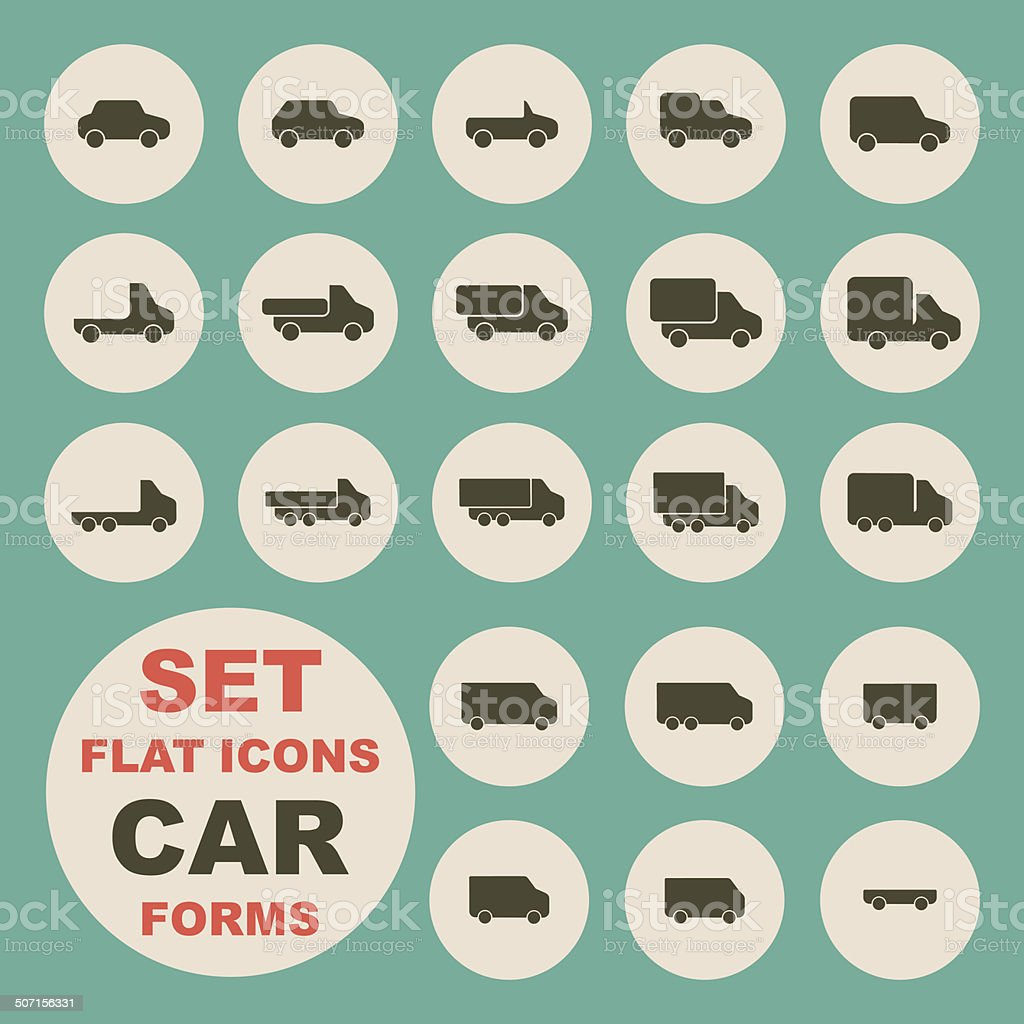 Set of flat icons, car form vector art illustration