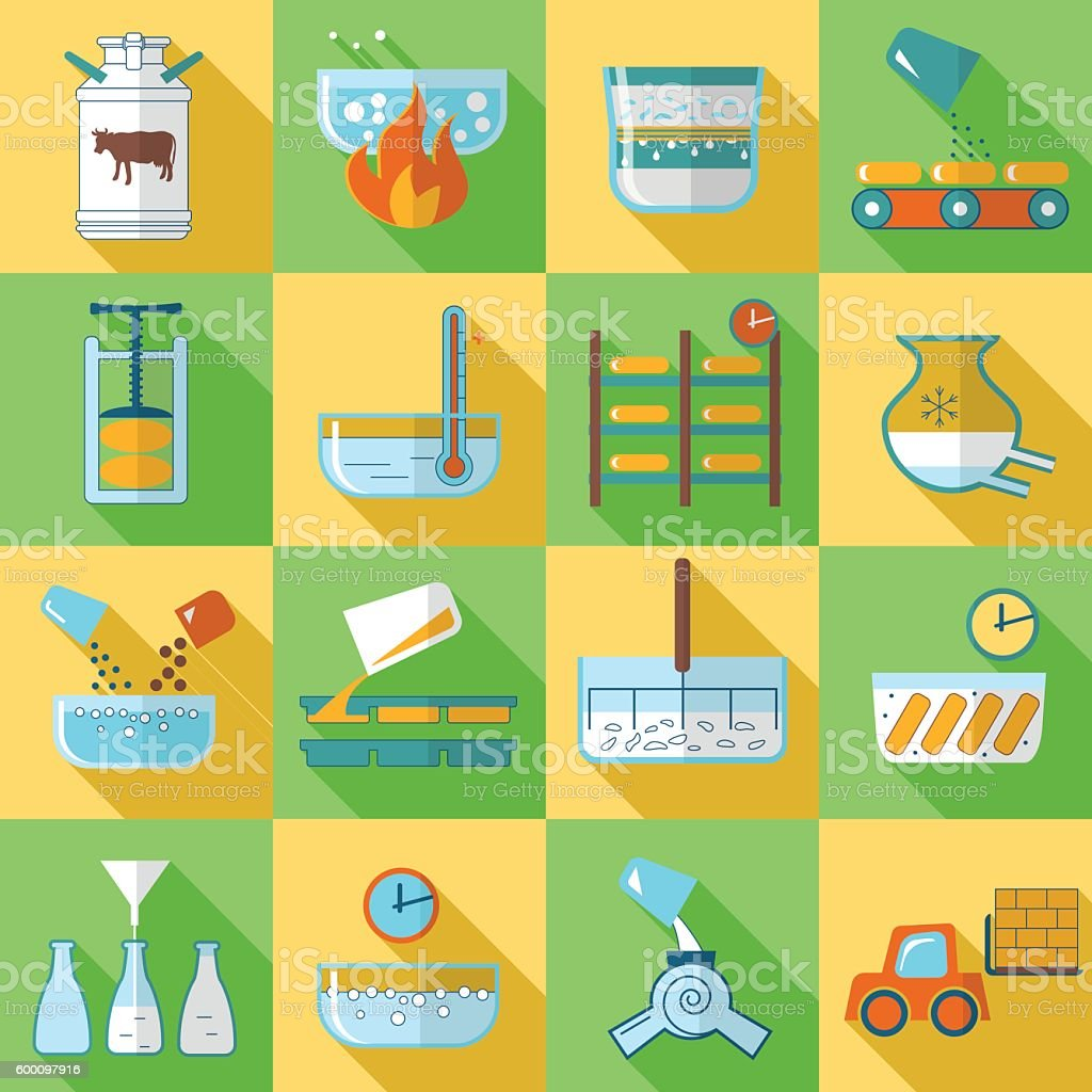 set of flat icons dairy product production vector art illustration
