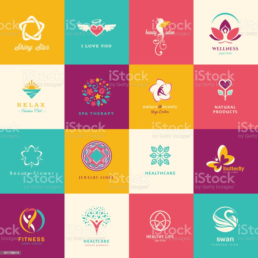 Set of flat icons for beauty, healthcare, wellness and fashion vector art illustration