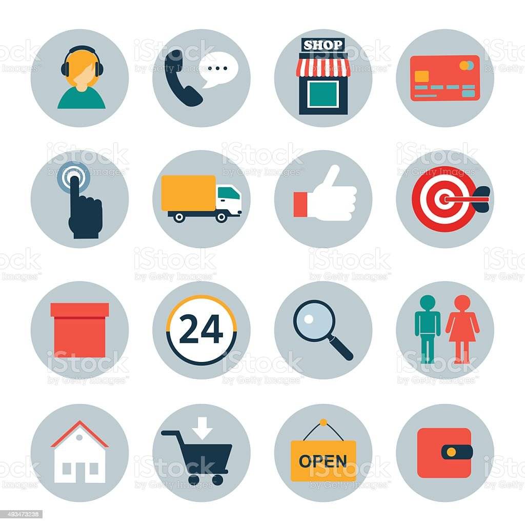 set of flat icons for online shopping vector art illustration