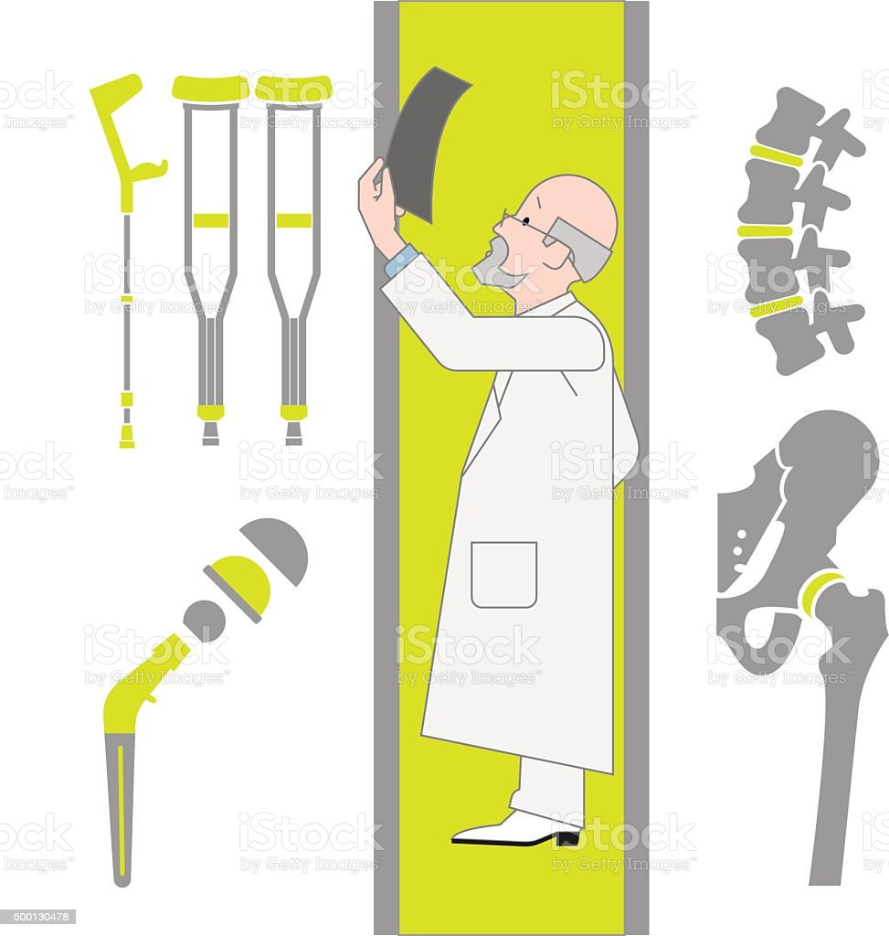 Set of Flat Icons From Surgery and Orthopedics vector art illustration