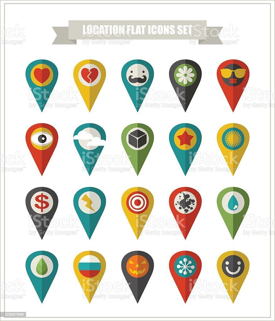 Set of flat icons location. vector art illustration