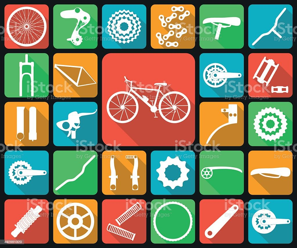 Set of flat icons of bicycle spare parts. vector art illustration