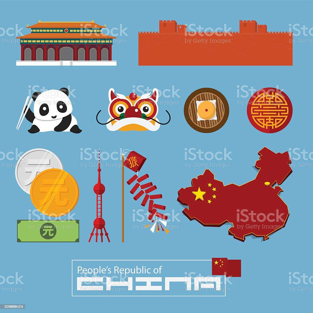 Set of flat icons of Chinese architecture, food, traditional symbols. vector art illustration