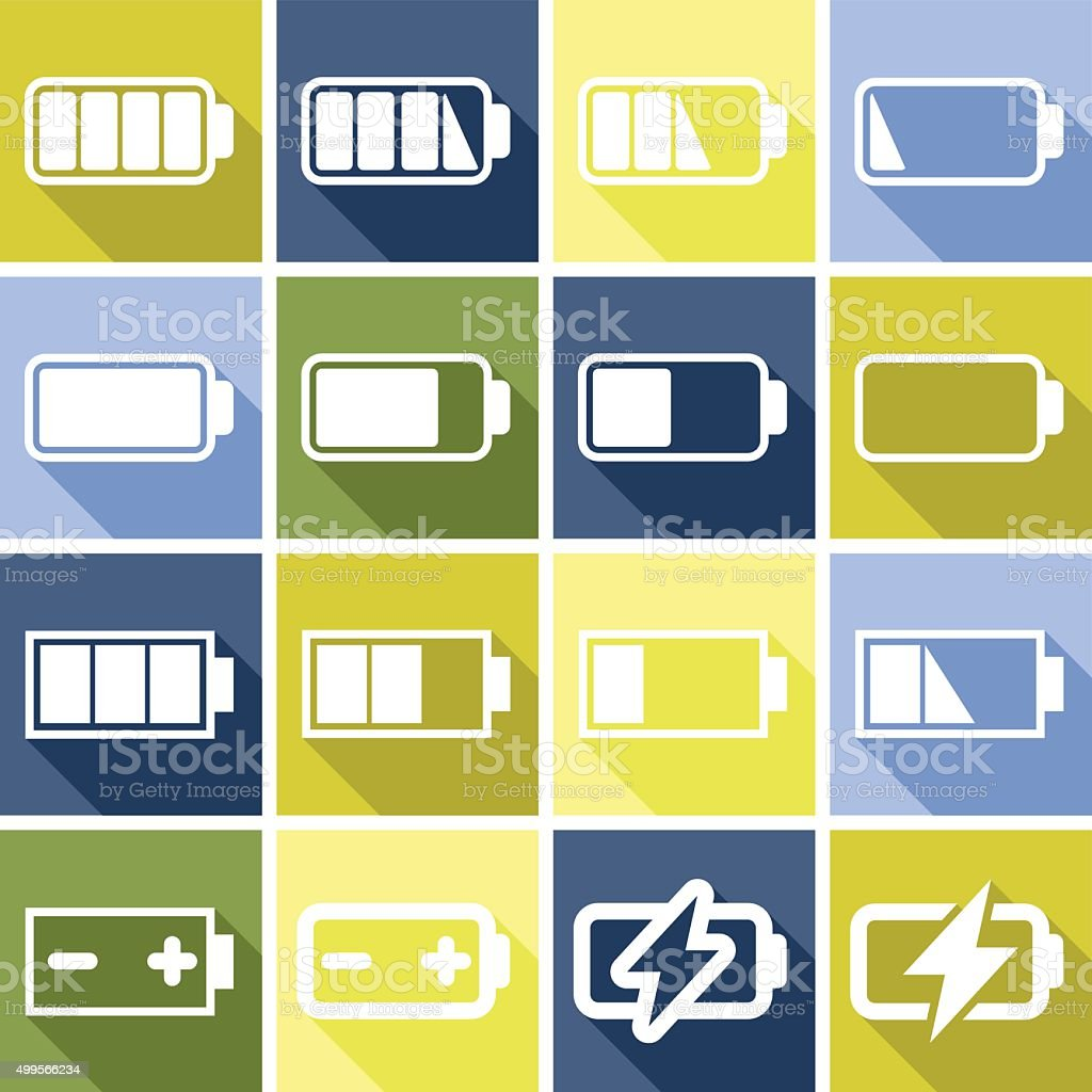 Set of flat icons (charge level, batteries), vector vector art illustration