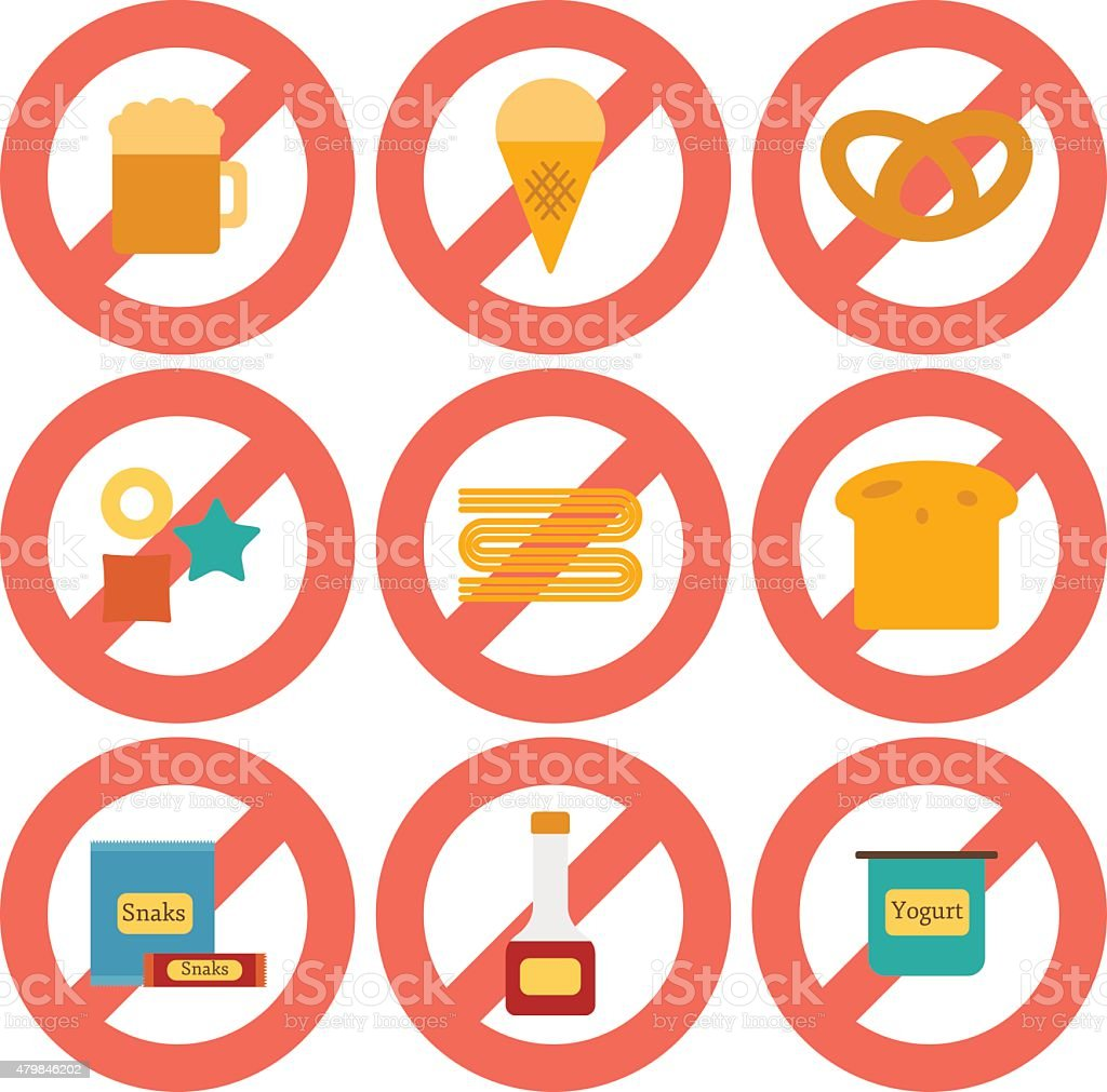 Set of flat icons with allergic gluten products vector art illustration