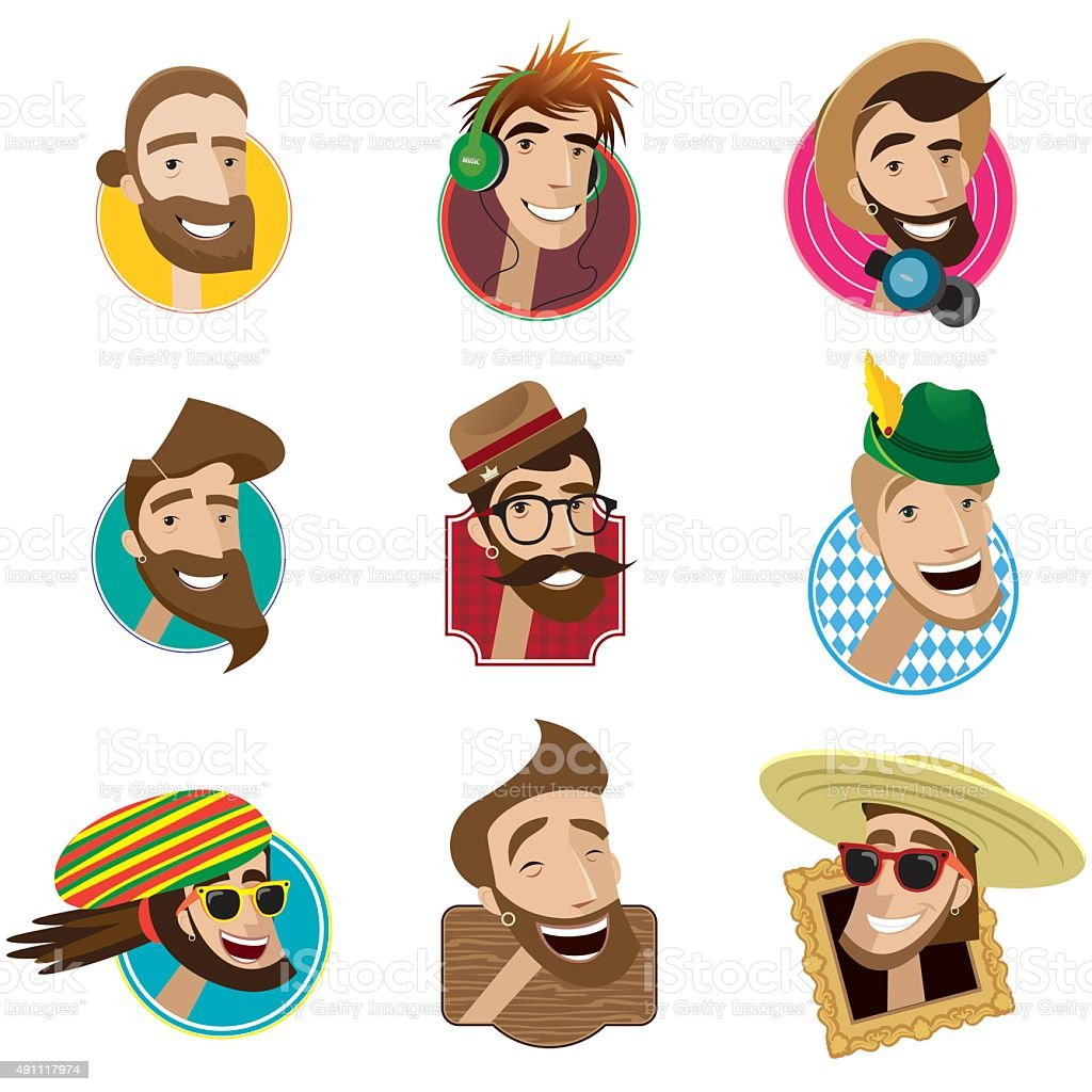 Set of flat icons with men heads vector art illustration